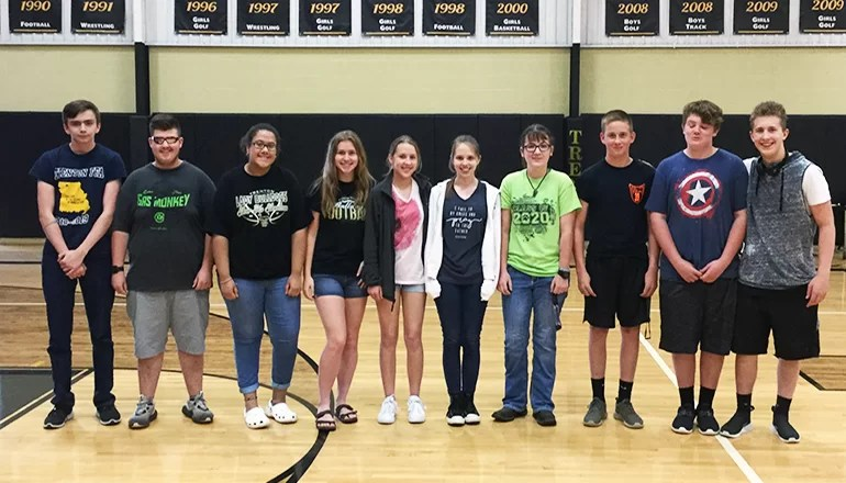 Band Director Tim Gilham announces Drum Majors for 2019-2020 school year